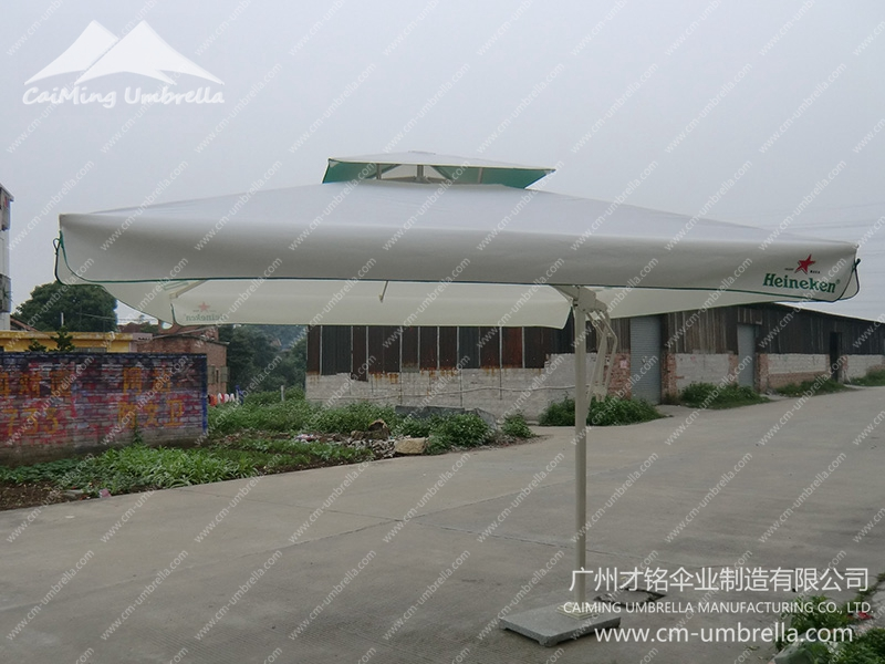 Aluminum Cantilever Inner column Square Double Umbrella With Tippet