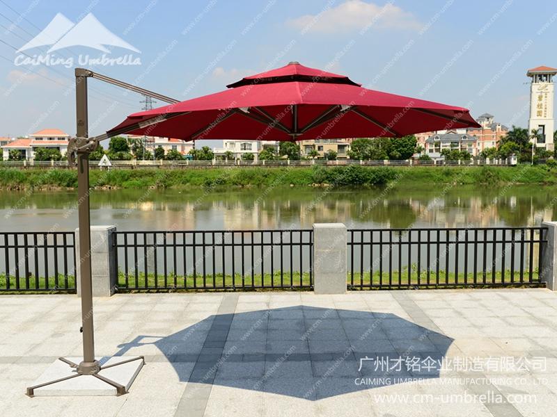 Aluminum Cantilever Round Double Umbrella