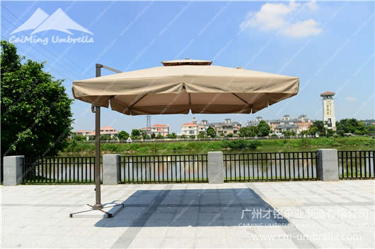 Aluminum Cantilever Square Double Umbrella With Tippet
