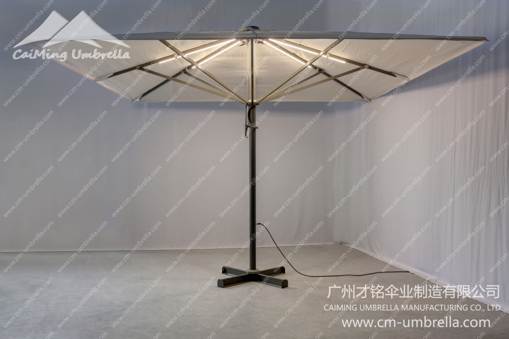 Aluminum Middle Column Square Umbrella With LED