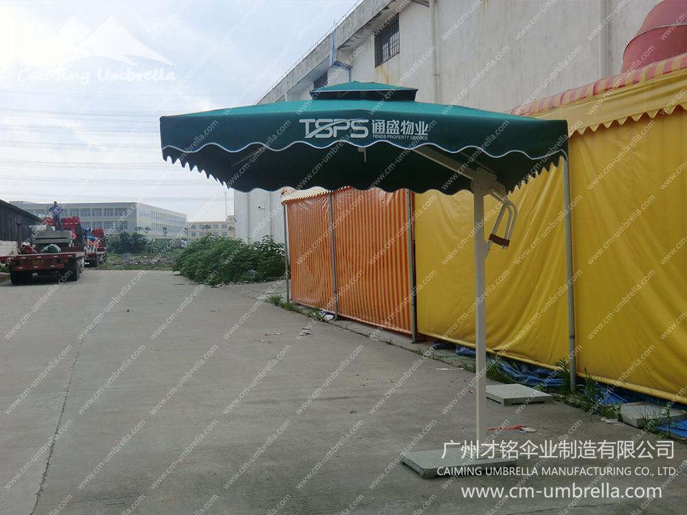 Aluminum Cantilever Inner column Square Double Umbrella With Tippet