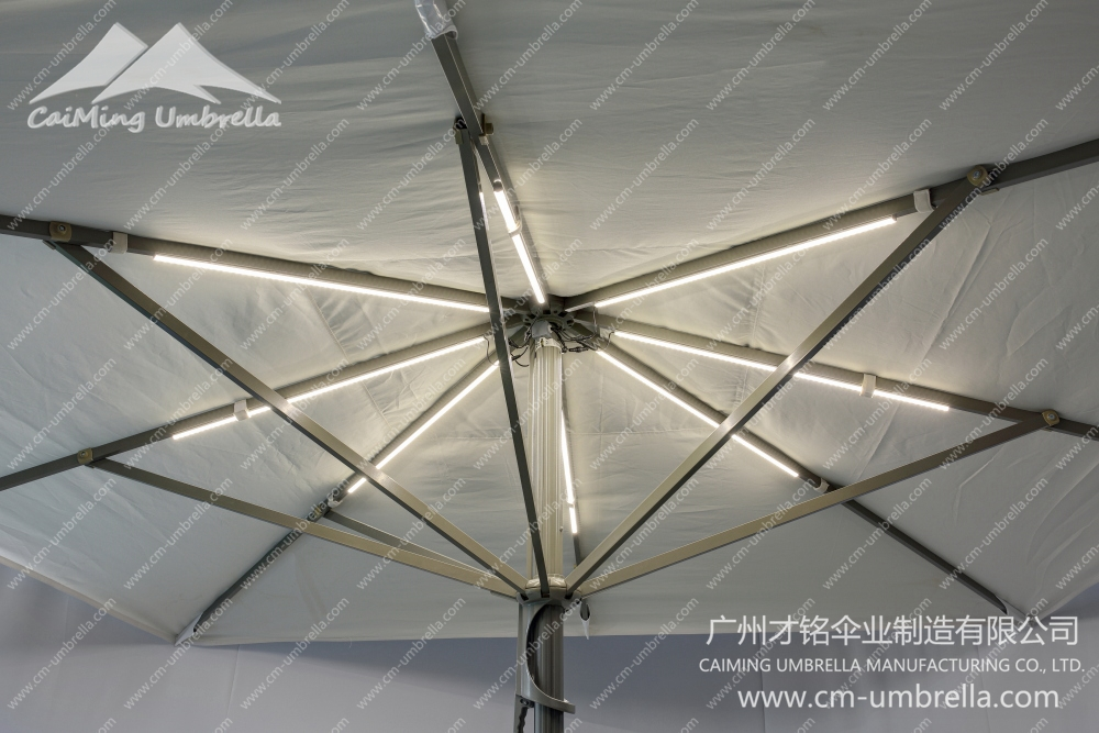 Aluminum Middle Column Square Umbrella With LED